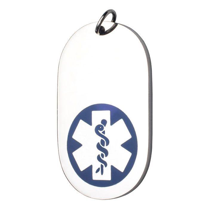 Medalla Colgante Dog Tag ID Acero Símbolo Medico Azul 23*46 Mm.