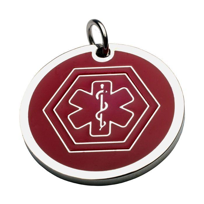 Charm Con ID Símbolo Medico En Acero Y Rojo 13*13 Mm (INCLUYE GRABADO DE UN LADO SIN COSTO)