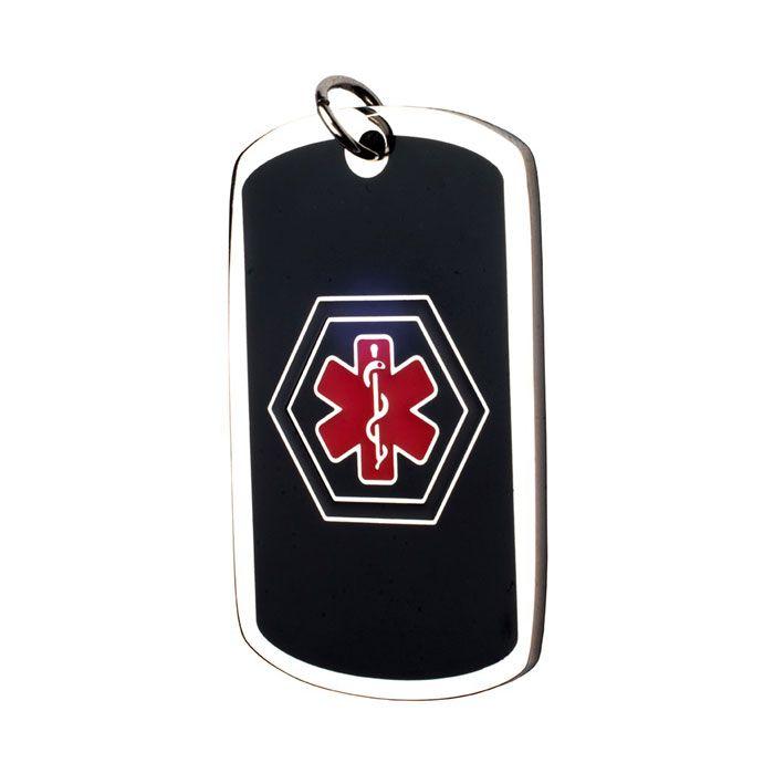 Medalla Colgante Dog Tag ID Acero Negra Símbolo Medico Azul Y Rojo 26*43 Mm.