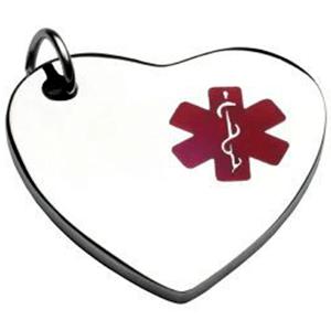 Charm Corazon Con  ID En Acero Símbolo Medico Rojo Tamaño 13 *14 Mm (INCLUYE GRABADO DE UN LADO SIN COSTO)