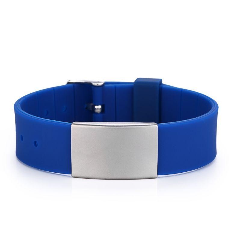Brazalete ID Silicona Tipo Reloj Azul Liso De 120 A 220 Mm.