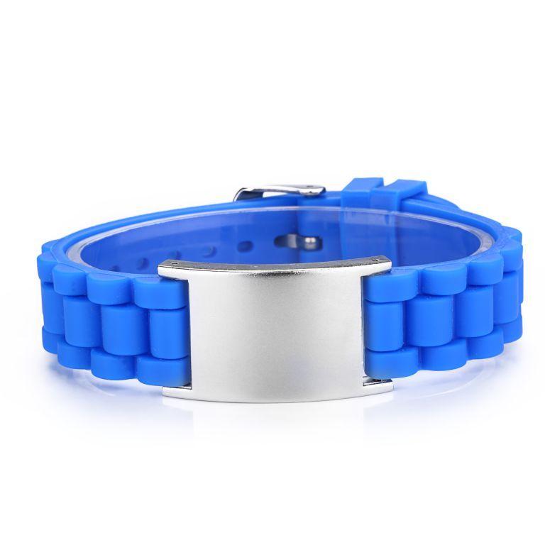 Brazalete ID  Rizado Silicona  Azul Tipo Reloj De 145 A 220 Mm.